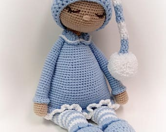 "Sleeping Baby Doll * 22"" * Blue and White * Ready to Ship"