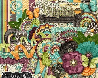 On Sale 50% Digital Scrapbooking Boho Beautiful Kit - Digital Scrapbook Kit