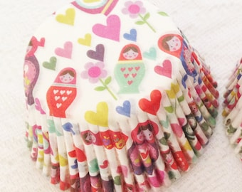 Russian Doll Muffin Cases - 48 Pretty Paper Cupcake Cases in a Pod
