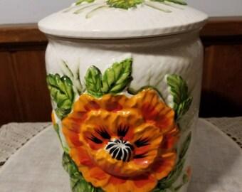 """Vintage, Lefton, 5399, Orange Poppy,Large 10"""" Cannister, Cottage Cookie Jar, Treat Jar"""
