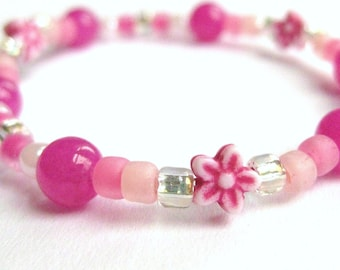 Girls Bracelet, Pink and Silver with Pink flowers, Medium, GBM 165