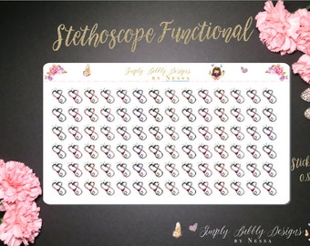 Stethoscope Functional Icons - 84 individual Planner Stickers