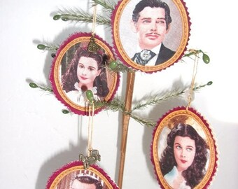 Spring Sale Scarlett O'Hara & Rhett Butler Tree Ornaments Christmas Decoration, Stocking Stuffer, Wine Bottle Topper, Gift,   Gone With The