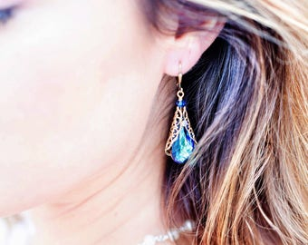 Bermuda Blue Teardrop Filigree Pendant Dangle Earrings with Crystal from Swarovski