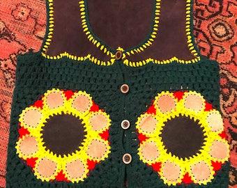 Vintage 1960s/1970s Hand Crocheted Suede Patchwork Vest Size Sm/ Med Hippie Boho Festival Groovy Psychedelic Glam Rocker Mod