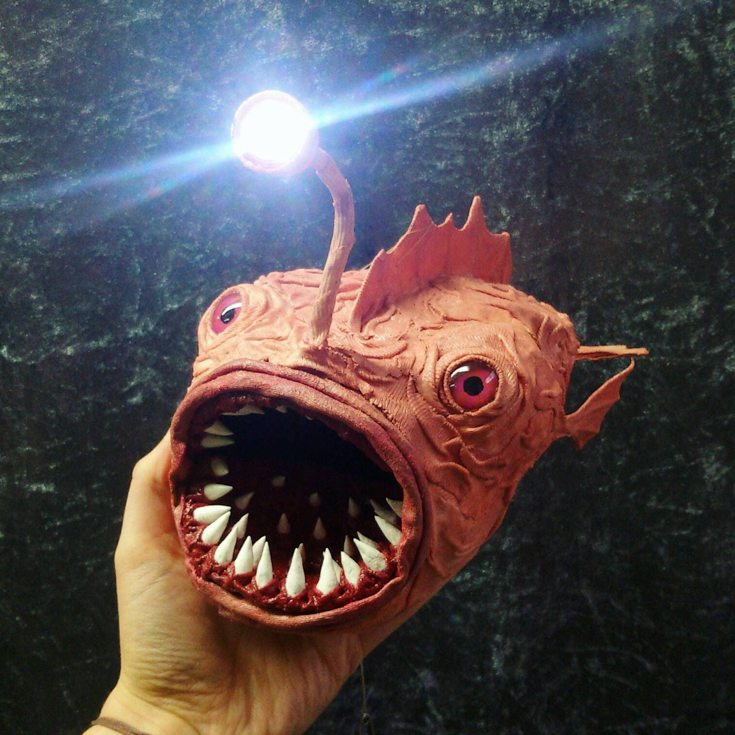 LED anglerfish lamp light skin-colored fish angler sculpture