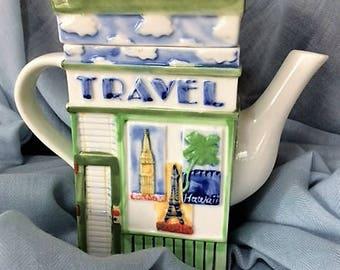 Vintage Travel Theme Teapot