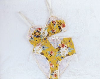 GWENDOLYN Yellow Floral Wireless Bralette and High-Waisted Panty, Handmade to Order