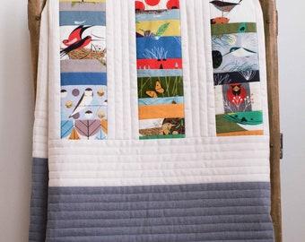 Charley Harper Birds Patchwork Crib Quilt; Modern Woodland Toddler Quilt; Custom, Handmade, Organic Cotton Baby Quilt Gift; PATCHWORK STACKS