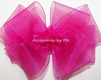 Pink Hair Bow, Hot Pink Organza Clip, Solid Sheer 3 Inch 4 Inch Bows, Baby Toddler Headband, Flower Girl Bows Hair Bands, Pageant Barrettes