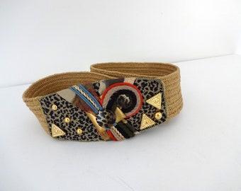 Vintage HAVANA Belt • 1990s Accessories •Unique Wearable Art Leopard Print Oversized Buckle Obi Studded 90s Black Woven Braided Statement