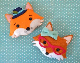 Mr. and Miss Fox doll pillow, fox plushies