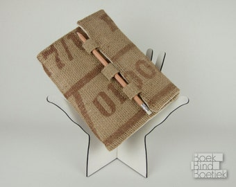Upcycled Burlap Notebooks Pencil Closure 1