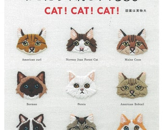 """Japanese Handicraft Book""""Be cured by cute! A lot of cats Embroidery 380""""[4021907254]"""