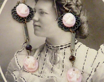 PINK angel skin coral tiny CAMEO vintage ANTIQUE assemblage earrings