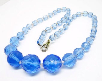 Vintage Blue Faceted Crystal Bead Necklace Choker