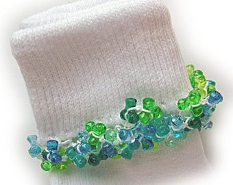 Kathy's Beaded Socks -  (Last One) - Blues and Greens socks, girls socks, baby socks, blue socks, tri bead socks, green socks, tri beads