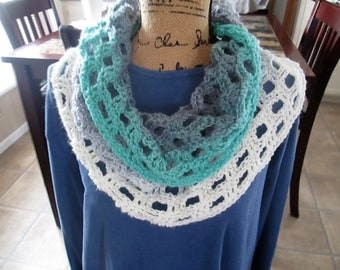 Crochet wrap, very versatile, many ways to wear, lightweight, soft, lacy