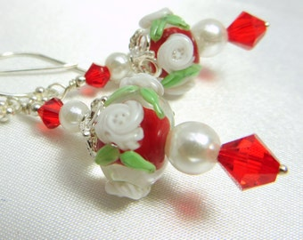 Red and White Gracebeads Lampwork Rondelles with Swarovski, Pearls and fine Sterling Silver - matching necklace available