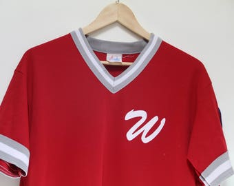 Vintage Baseball Jersey Majestic Athletics Baseball Tee Size L Made in USA Polyester Red Vintage Baseball Jersey