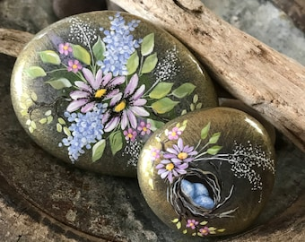 Painted Rocks, Set of 2, Spring Garden Rocks, Paperweights, Painted Nest Rock, Gift Set
