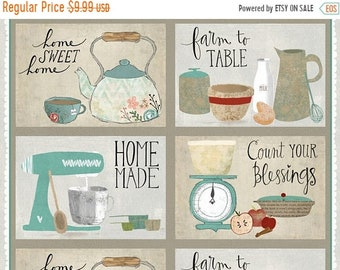 20% off thru Apr 24th fabric panel FRESHLY PICKED-makes 4 placemats- by Wilmington Fabrics- 24 by 44 inches-homemade, count your blessings 5