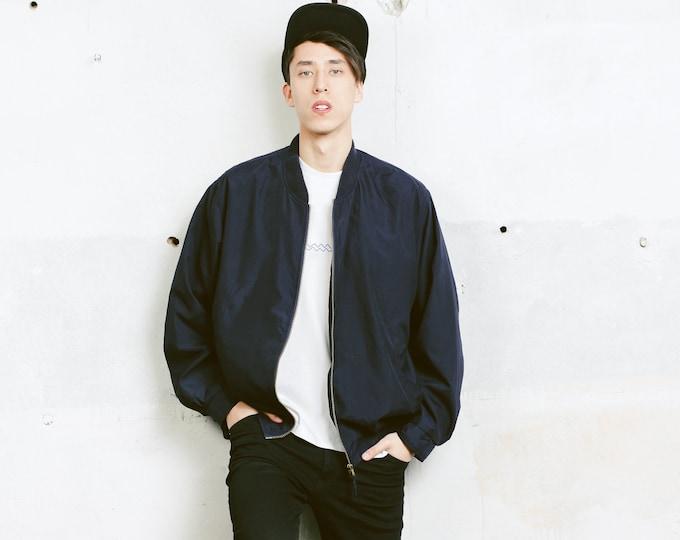 Blue Bomber Jacket . Vintage Men's Dark Blue Men's Jacket Zip Up Jacket Outerwear Boyfriend Gift Hipster Outfit. size Extra Large XL