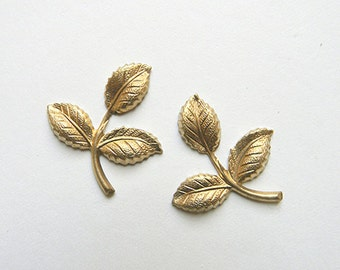 6 pcs, Brass Leaf, Raw Brass Leaf, Leaf Stamping, Brass Finding, Wedding Headpiece Supply, 26mm x 29mm - (r284)
