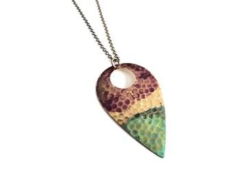 Rosewood and Verdigris Textured Teardrop Necklace #N1805