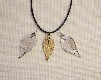 SALE Leaf Necklace, Silver Evergreen Leaf, Silver Leaf, Real Leaf Necklace, Gold Leaf, Boho Necklace, Silver Leaf Pendant, SALE321