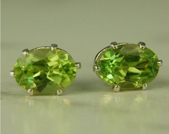 Peridot Stud Earrings Sterling Silver 7x5mm Oval 1.75ctw Natural Untreated