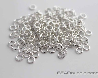 4mm Open Jump Rings Silver Plated, Pack of 200, Findings for Jewelry Making