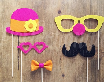 5 Felt Circus Photo Booth Props | Pink Carnival Props | Clown Glasses | Hobo Hat