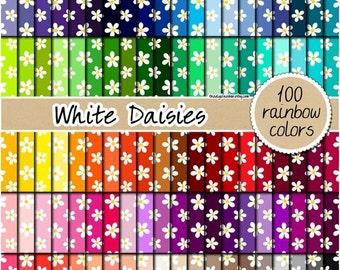 SALE 100 white daisies digital paper floral rainbow paper Scrapbooking kit pattern pack 12x12 pastel neutral bright dark colors Instant down