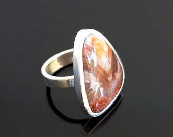 Crazy lace agate ring. Sterling silver banded agate ring. Size 7.