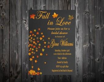 Chalkboard Fall In Love Bridal Shower Invitation