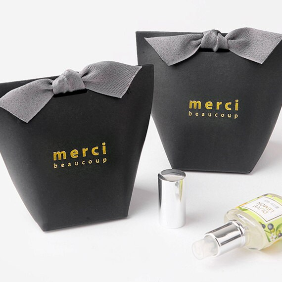 3 x Gift bag SET Black Medium Merci Beaucoup Party