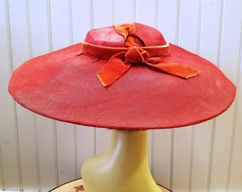 Vintage Lipstick Red Straw Picture Hat with Red Velvet Detail, ca 1940s