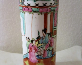Cynlinder Shaped Ceramic Vase with Asian Theme