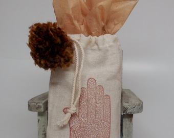 Hand stamped Cotton Gift Bag...Hamsa
