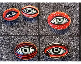 Fünf rote Augen, Kühlschrank-Magnete von Jenny Mendes geformt