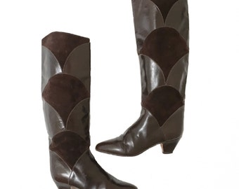 Italian Leather & Suede Scalloped Patchwork Brown Bohemian Boots 6.5 M Vintage Charles David