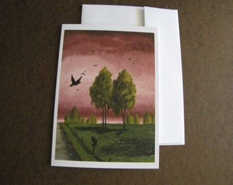 Empty Pasture Painting Farm blackbirds FIne Art Any Occasion blank Greeting Card 5x7 with envelope