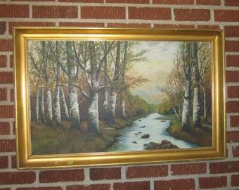 Vintage 1930 Dated Signed Large Framed Landscape Oil Painting