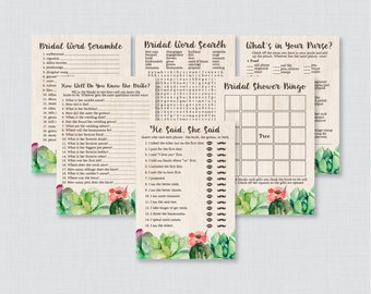 Succulent Bridal Shower Games Package with Six Games- Printable Rustic Green Cactus Bridal Shower Games - He Said She Said, Bingo, etc 0025