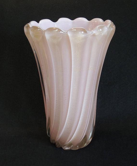 Large Mid Century Venetian Murano Italy Cased Art Glass Vase.. Pink W Gold Dust