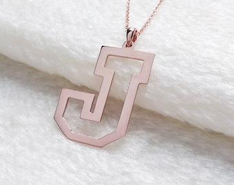 J Outline Necklace,Outline Letter Necklace,Personalized Single Letter Necklace,One Letter Necklace,Single Initial Necklace,%100 Handmade