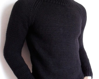 Mens Sweater Black Ski sweater Unisex Knit Alpaca and Wool Sweater