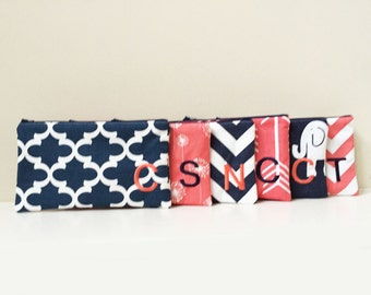 Large Makeup Bag - Set of 6 - Coral Bag - Navy Cosmetic Bag - Bridesmaid clutches - Personalized Pouch - Monogram Makeup bag - Large