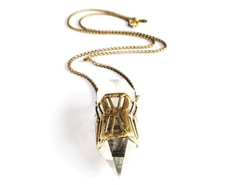 Quartz Crystal Cage Necklace - Chevron Style